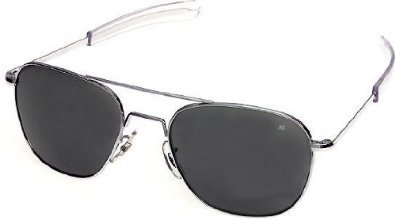AO Original Pilot Sunglasses, Silver, Bayonet, CC Gray Poly Lens, 57mm 30122