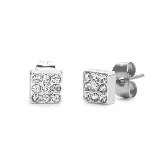 Impressive Stainless Steel Cubic Zirconia Stones Mens Stud Earrings
