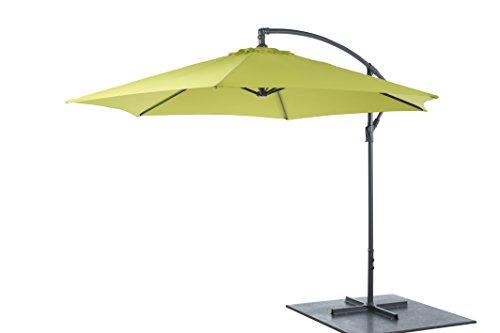 3m AMPELSCHIRM LEMON rund Sonnenschirm Kurbel Schirm Fuß Gartenschirm
