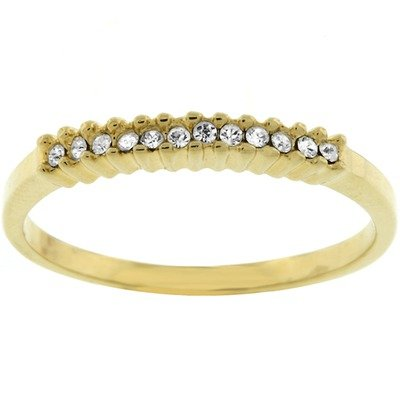 Gold-Tone Clear Cubic Zirconia Crystal Promise Ring Size: 9