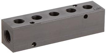"Polyconn PCM10-125-05B Black Anodizing Aluminum Manifold, 1/4"" NPT Female x 1/8"" NPT Female, 5 Stations"