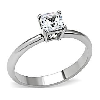 316 Stainless Steel 0.87ct Russian Ice on Fire Simulated Diamond CZ Solitaire Promise Friendship Ring Verena, sz 10.0