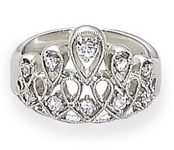 Sterling Silver Rhodium Plated Tiara Design CZ Ring / Size 8