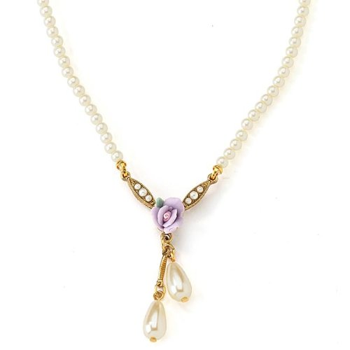 Porcelain Rose Simulated Pearl Lilac Necklace