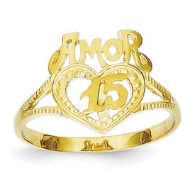 Genuine IceCarats Designer Jewelry Gift 14K 15 Amor Heart Ring Size 6.00