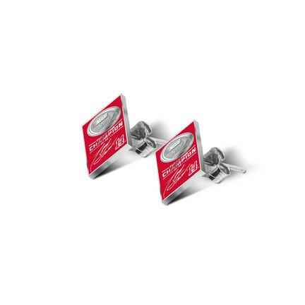 Tony Stewart 2011 NASCAR Sprint Cup Champion Enamel Post Earrings - Sterling Silver Jewelry
