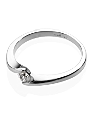 M&S Collection Platinum Plated Twisted Diamanté Ring
