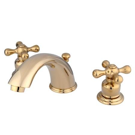 """Elements Of Design Eb962Ax Magellan Two Handle 4"""" To 8"""" Mini Widespread Lavatory Faucet With Pop-Up, Polished Brass"""