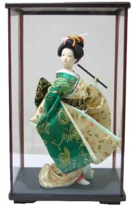 日本人形ケース入り 9インチ No.9-D 緑 9inch Japanese Doll in Acrylic Case, Geisha Girl with Fan in carton box