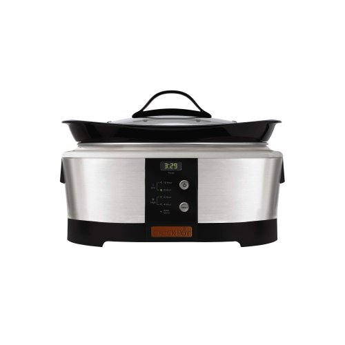 Digital Slow Cookers: 6 Qt Oblong Smart-Pot Black Stainless Slow Cooker