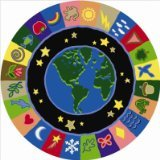 Joy Carpets Kid Essentials Geography & Environment Round EarthWorks Rug, Multicolored, 13'2""