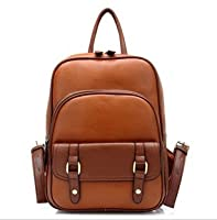 Prou Zlcy Girls' Vintage Street Leather Schoolbag Casual Small Backpack Pu Shoulder Bag Knapsack Rucksack (Brown) from Pro4u