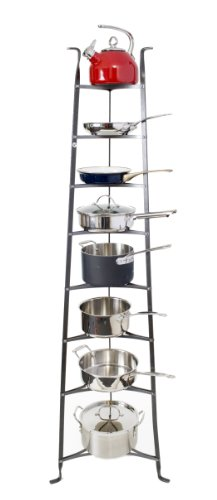 Enclume 8-Tier Cookware Stand, Free Standing Pot Rack, Hammered Steel ( Unassembled) (Rack For Cookware compare prices)