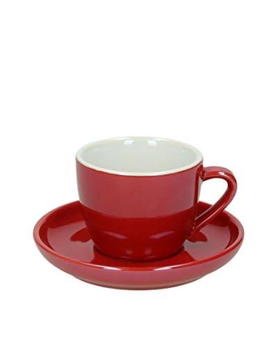 Tognana Set Taza De Cafécon Plato 6 Uds. Colortek Rojo