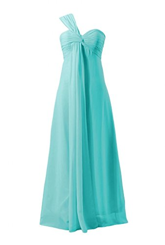 Daisyformals One Shoulder Chiffon Bridesmaid Dress With Empire Waist(Bm316)- Tiffany Blue