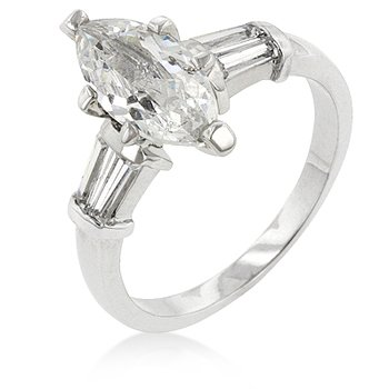 White Gold Rhodium Bonded Engagement Ring with Marquise Cut Center Stone and Shouldered Baguettes in Silvertone