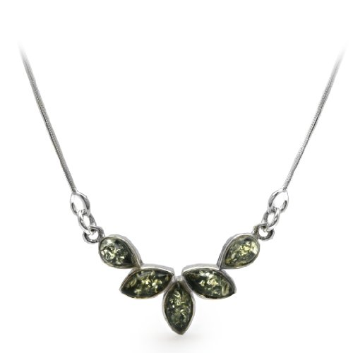 Sterling Silver Green Amber Small Flower Necklace, 18