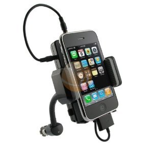 Gsi Super Quality Wireless Hands-Free 5-In-1 Dock-Mount-Charger-Fm Transmitter-Car Kit, With Goose-Neck Mount For Ipod, Iphone 4G/3G/S, Mp3, Mp4, Cd, Dvd Players - Includes Audio Cable, Lcd Display - Cigarette Lighter Plug-In