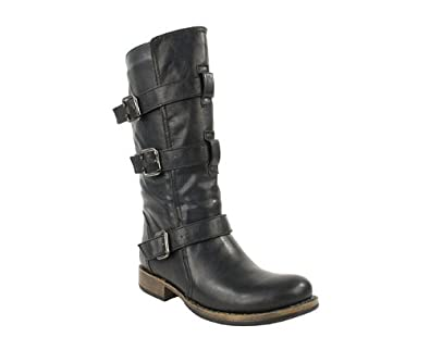 Lastest WOMENS BLACK FAUX LEATHER LADIES STUDDED SLOUCHY BIKER BOOTS SHOES