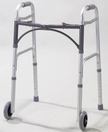 Duro-Med 2-Button Adjustable Aluminum Folding Walker with 5 Inch Wheels, Silver