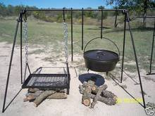 Portable Cook Set for Wood or Charcoal Grilling - Includes Four different length hooks and an adjustable grill (Campfire Cooking Stand compare prices)