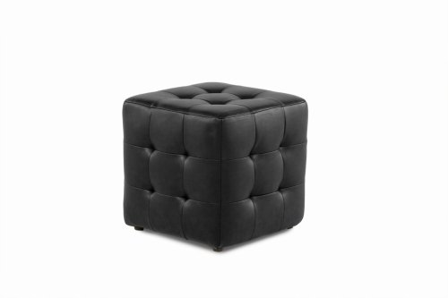 Diamond Sofa Zen Collection Bonded Leather Tufted Cube Accent Ottoman, Black