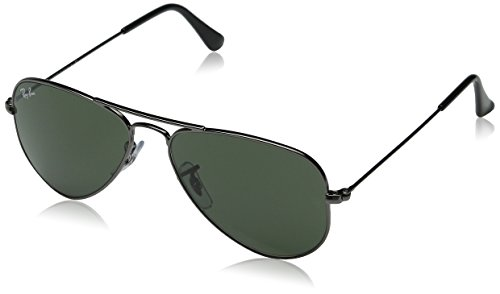 Ray-Ban 0RB3044 Aviator Sunglasses,Gunmetal Frame/Green Lens