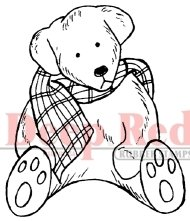 Teddy Bear with Scarf Rubber Stamp - Deep Red Stamps - 1