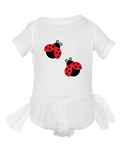 Two Black And Red Ladybugs Tutu Girl Baby Bodysuit One Piece