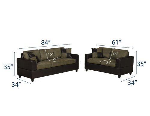 Buy Low Price Poundex Bobkona Seattle Microfiber Sofa and Loveseat 2-Piece Set in Sage Color (VF_F7596)
