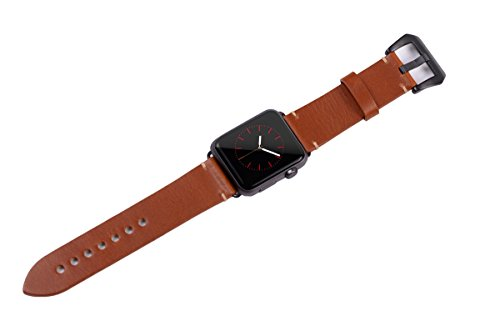 Apple Watch Band ,Vintage Vegetable Tanned Leather Watch Band For I Watch 42mm With Black Adaptor Light Brown 2