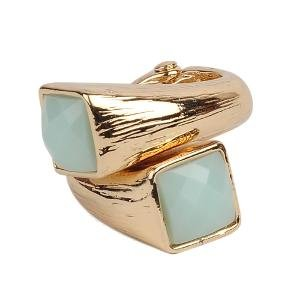 JDX Zinc Alloy Blue And Golden Ring for Women and Girls (multicolor)
