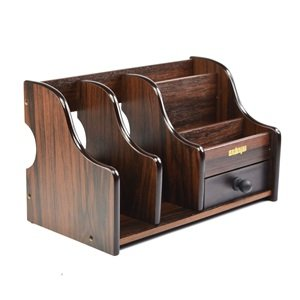 Kloud city dark brown wood desk desktop organizer sorter - Wood desk organizer ...