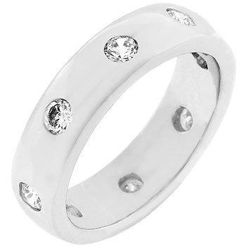 White Gold Rhodium Bonded Designer Inspired Eternity Ring with Bezel Set Round Clear Cz Jewelry (10)