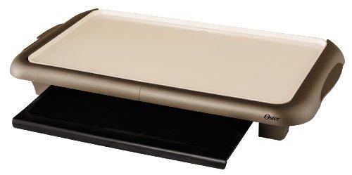 Oster Ckstgrfm18Wm-Eco Duraceramic Griddle With Warming Tray, Beige/Champagne