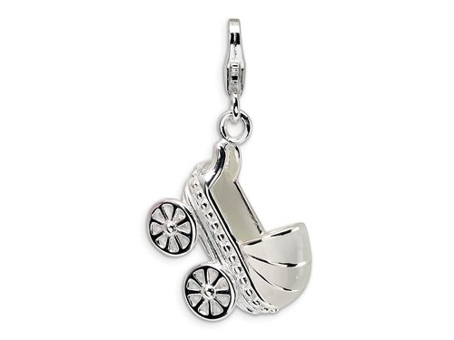 Amore LaVita(tm) Sterling Silver 3-D Enameled Baby Carriage w/Lobster Clasp Charm for Charm Bracelet
