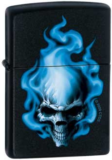 Blue Flaming Skull Deaths Head Zippo Black Lighter