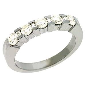 14k White Channel-Set Round 0.78 Ct Diamond Band Ring - Size 7.0 - JewelryWeb