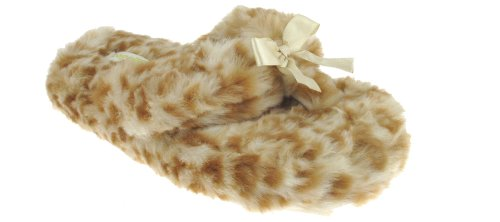 Cheap Capelli New York Leopard Faux Fur Thong With Satin Bow Ladies Indoor Slippers (B00937NPVW)