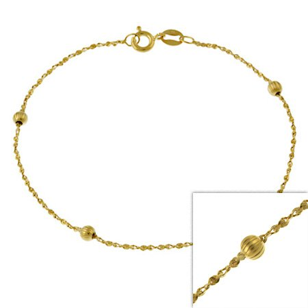 14k Gold Filled Italian Twisted Serpentine Chain Bracelet w/ Ribbed Beads