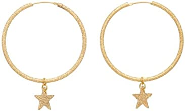 Assya Gold Plated Shimmer Hoop Earrings with Stars