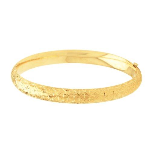 Duragold 14k Yellow Gold Engraved Bangle Bracelet (8mm)