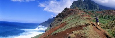 Adult Hiking Up a Mountain, Kalalau Trail , Na Pali Coast, Kauai, Hawaiis Premium Photographic Poster Print by Panoramic Images , 42x14