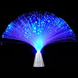 Battery Operated Blue Color Fiber Optic Novelty Lamp, Modern Home Decor