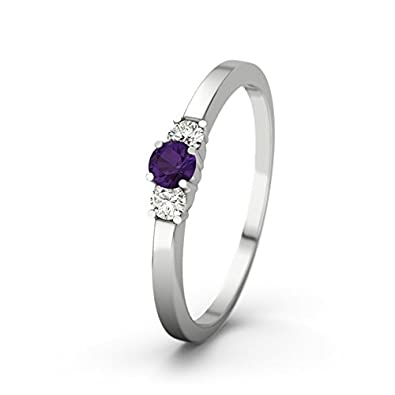 21DIAMONDS Shannon 21PREMIUM Amethyst Brilliant Cut 9Ct White Gold Women's Ring Engagement Rings
