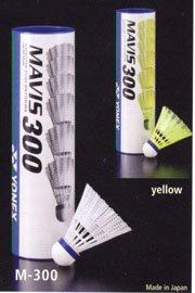 Yellow Yonex Mavis 300 Nylon Shuttlecocks- 1/2 dozen