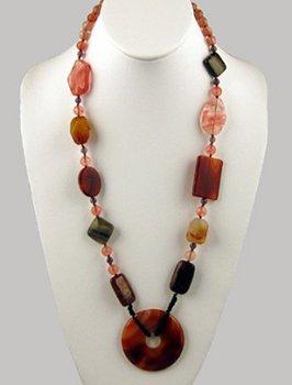 Agate, Carnelian, Cherry Quartz Necklace