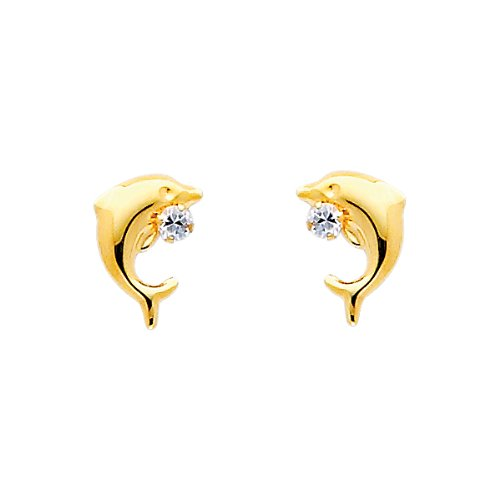14K Yellow Gold Dolphin CZ Stud Earrings with Screw-Back for Baby & Children