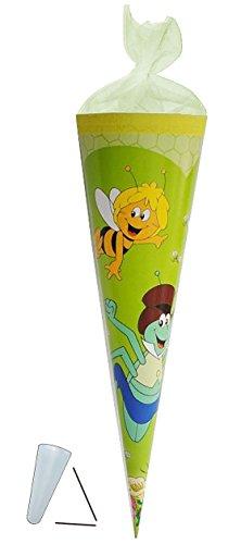 Schultüte Biene Maja 22 cm - mit / ohne Kunststoff Spitze - Tüllabschluß - Zuckertüte für Mädchen Jungen Bienen Honig Willi Flip