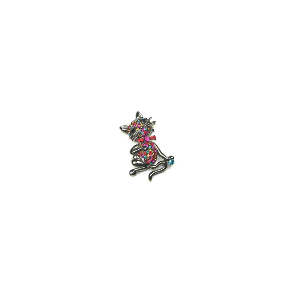 Multi Color Rhinestone Kitty Cat Brooch Pin